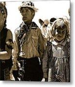 Cowboy And Indian Armory Park Tucson Arizona Black And White Toned Metal Print