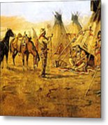 Cowboy Bargaining For The Indian Girl Metal Print by Charles Russell