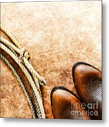 Cowboy Boots And Lasso Metal Print