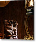 Cowboy Boots At The Ranch Metal Print by Olivier Le Queinec