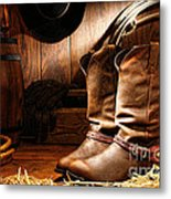 Cowboy Boots In A Ranch Barn Metal Print