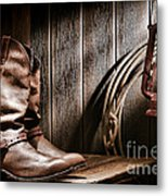 Cowboy Boots In Old Barn Metal Print