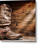 Cowboy Boots On Wood Floor Metal Print