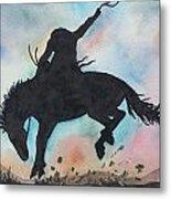 Cowboy Bronco Metal Print