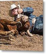Cowboy Has Steer By Horn Metal Print