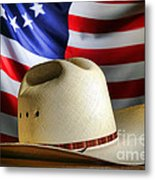 Cowboy Hat And American Flag Metal Print