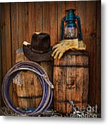 Cowboy Hat And Bronco Riding Gloves Metal Print by Paul Ward