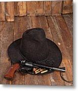 Cowboy Hat And Gun Metal Print