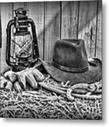 Cowboy Hat And Rodeo Lasso In A Black And White Metal Print by Paul Ward
