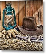 Cowboy Hat And Rodeo Lasso Metal Print by Paul Ward