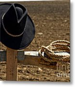 Cowboy Hat And Rope On Fence Metal Print by Olivier Le Queinec