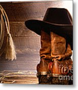 Cowboy Hat On Boots Metal Print