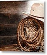 Cowboy Hat On Hay Bale Metal Print