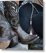 Cowboy Hat And Cowgirl Boots Metal Print