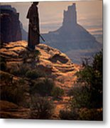 Cowboy On A Cliff Metal Print