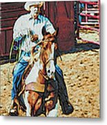 Cowboy On Paint Metal Print