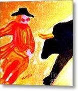 Cowboy Rodeo Clown And Black Bull 1 Metal Print