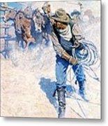 Cowboy Roping Wild Horses Metal Print