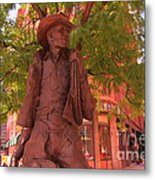 Cowboy Statue In Front Of The Brown Palace Hotel In Denver Metal Print