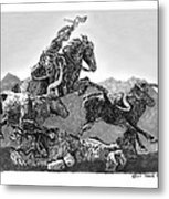 Cowboys And Longhorns Metal Print