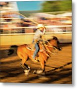 Cowboys Ride And Rope Cattle During San Metal Print
