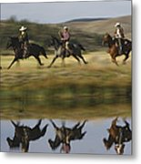 Cowboys Riding With Dogs Oregon Metal Print