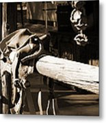 Cowboy's Saddle Metal Print