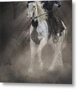 Cowgirl And Knight Metal Print