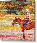 Cowgirl In Bricks Metal Print