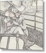 Cowgirl Melody Metal Print by Beverly Marshall
