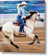 Cowgirl Rides Fast For Best Time Metal Print