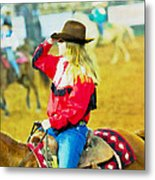 Cowgirl Waiting Metal Print