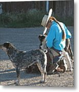 Cowgirl With Her Dogs Metal Print