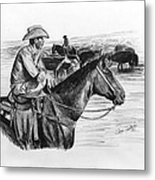 Cowpoke Taking A Break Metal Print