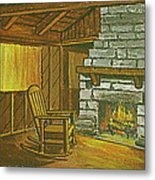 Cozy Fireplace At Lake Hope Ohio Metal Print