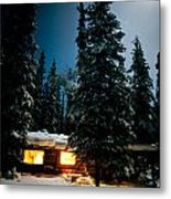 Cozy Log Cabin At Moon-lit Winter Night Metal Print