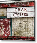 Crab And Oysters Metal Print