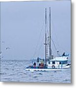 Crab Boat Dropping And Pulling Their Pots Metal Print