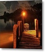 Crab Pot At The End Of The Dock Metal Print