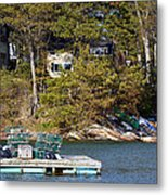 Crab Traps On Boat Near Shore Portland Metal Print