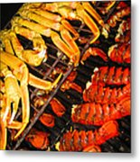 Crab Vs. Lobster Metal Print