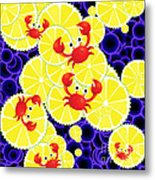 Crabs On Lemon Metal Print