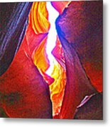 Crack Between Two Worlds In Lower Antelope Canyon In Lake Powell Navajo Tribal Park-arizona Metal Print