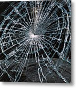 Cracked Glass Of Car Windshield Metal Print