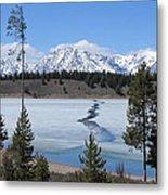 Cracked Ice On Jackson Lake Grand Teton Np Wyoming Metal Print