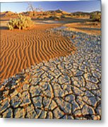 Cracking Dirt And Dunes Namib Desert Metal Print