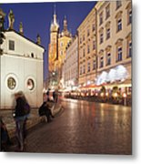 Cracow By Night In Poland Metal Print