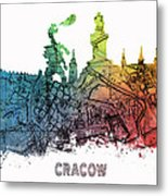 Cracow City Skyline Map Metal Print