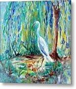 Crane And Willow Metal Print