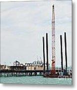 Crane Barge At Hastings Pier Metal Print